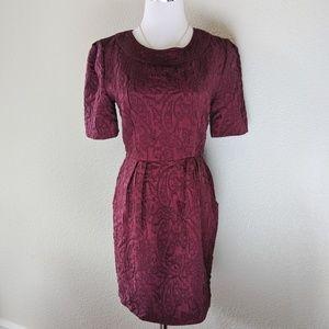 Burgundy jacquard dress with pockets